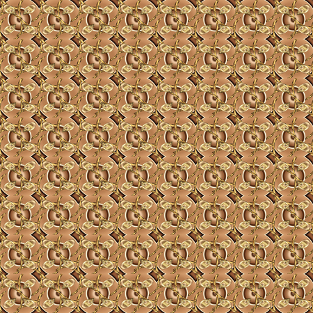 Wallpaper baroque, damask. Stylish graphic pattern. Floral pattern. Golden elements on beige and brown colors. Seamless vector background. Иллюстрация