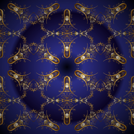Classic vector golden seamless pattern. Floral ornament brocade textile pattern, glass, metal with floral pattern on blue and violet colors with golden elements. Illustration