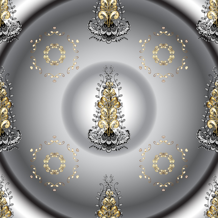 Floral ornament brocade textile pattern, glass, metal with floral pattern on gray and neutral colors with golden elements. Classic vector golden seamless pattern.