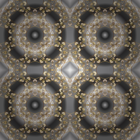 Vector traditional classic golden seamless pattern on gray and brown colors. Seamless oriental ornament in the style of baroque. Vectores