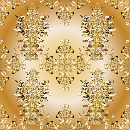 Golden element on beige and orange colors. Damask seamless pattern repeating background. Antique golden repeatable wallpaper. Golden floral ornament in baroque style.