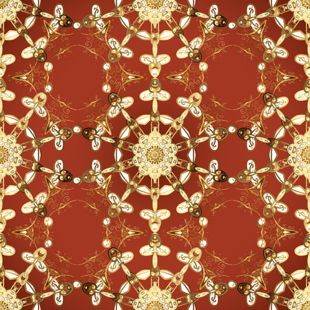 Vector art. Oriental traditional hand painted seamless border for design. Abstract background. Illustration in brown and red colors. Paisley watercolor floral pattern tile with flowers, flores, leaves