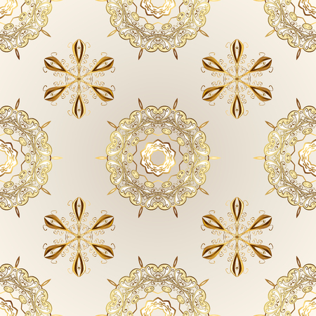 Beige and neutral colors with golden elements. Seamless golden pattern. Gold metal with floral pattern. Vector golden floral ornament brocade textile and glass pattern.