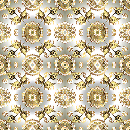 Classic vintage background. Golden pattern on white and neutral colors with golden elements. Traditional orient ornament. Seamless classic vector golden pattern.  イラスト・ベクター素材