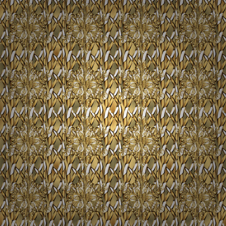 Classic vector golden seamless pattern. Floral ornament brocade textile pattern, glass, metal with floral pattern on brown and beige colors with golden elements.