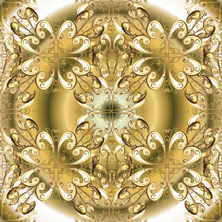 Floral ornament brocade textile pattern, glass, metal with floral pattern on beige and neutral colors with golden elements. Classic vector golden seamless pattern. Illustration