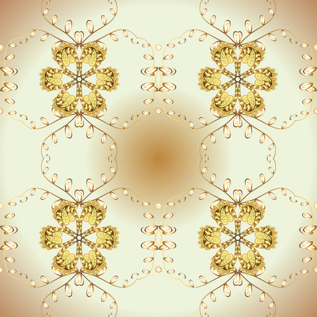 Symbol of winter, Merry Christmas holiday, Happy New Year 2019. Abstract sketch, wrapping decoration. Golden snowflake simple seamless pattern. Vector golden pattern on beige and yellow colors.