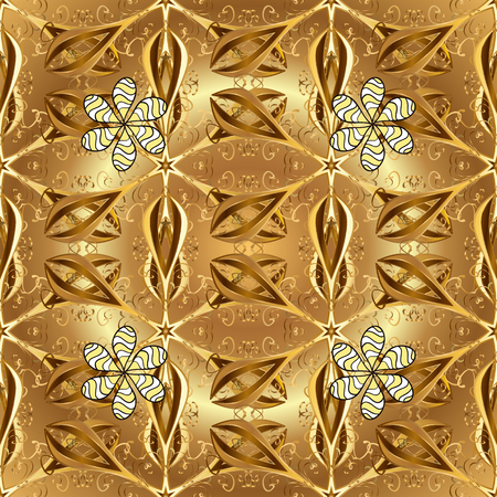 Antique golden repeatable wallpaper. Golden floral ornament in baroque style. Golden element on brown and beige colors. Damask seamless pattern repeating background. Illustration