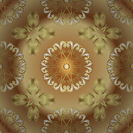 Classic vector golden seamless pattern. Floral ornament brocade textile pattern, glass, metal with floral pattern on beige and brown colors with golden elements.