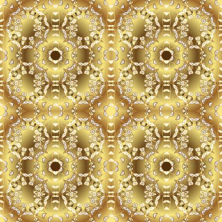 Classic vintage background. Traditional orient ornament. Seamless classic vector yellow and brown and golden pattern.