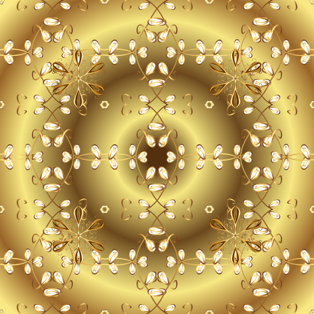 Seamless element woodcarving. Yellow and brown backdrop with gold trim. Small depth of field. Pattern on yellow and brown colors with golden elements. Luxury furniture. Furniture in classic style.