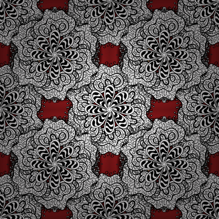 Pattern. Vector. Tender fabric pattern. White, black and red on colors. Seamless Abstract Retro Background Design.
