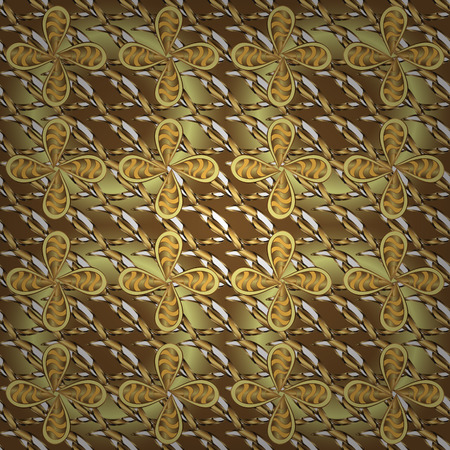 Vector illustration. Cute Look. In vintage style. Illustration in yellow and brown colors. Seamless. Luxury Geometric Pattern. Ilustração