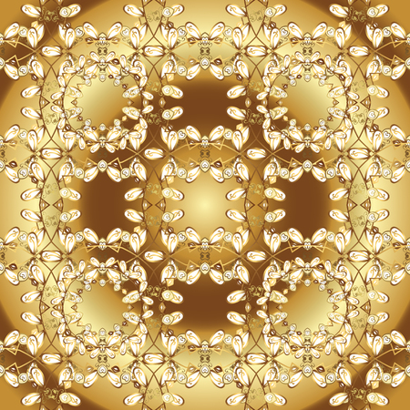Doodles yellow and brown on colors. Vector. Print. Flat elements. Nice fabric pattern. Design.