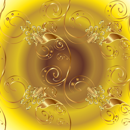 Seamless Sketch nice background. Abstract pattern for wrapping paper Vector illustration. Doodles yellow and brown on colors.
