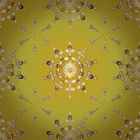 Damask seamless pattern repeating background. Golden floral ornament in baroque style. Antique golden repeatable sketch. Golden element on yellow and beige colors.