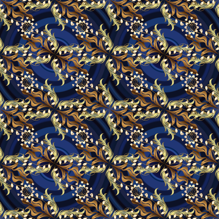 Classic vintage background. Seamless classic vector golden pattern. Traditional orient ornament. Golden pattern on blue, gray and brown colors with golden elements. Illustration