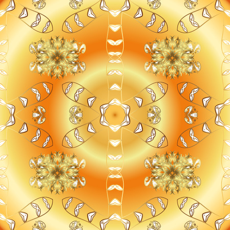 Christmas golden snowflake seamless pattern. Winter snow texture sketch. Golden snowflakes on yellow and orange colors. Symbol holiday, New Year celebration vector golden pattern. Vectores