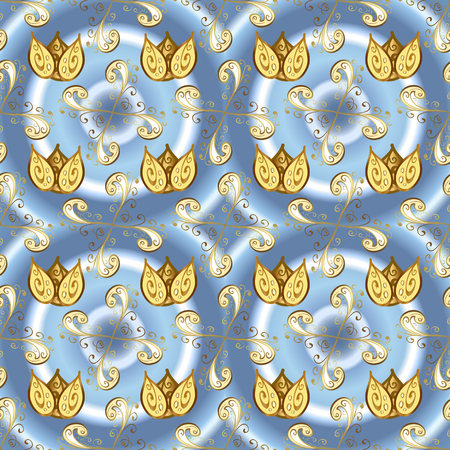 Seamless royal luxury golden baroque damask vintage. Vector seamless pattern with gold antique floral medieval decorative, leaves and golden pattern ornaments on blue, neutral and yellow colors.