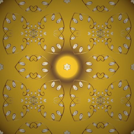 Design wrapping and gift paper, greeting cards, banner and posters design. Seamless pattern Abstract cute background. Doodles pattern. Yellow and brown on colors. Vector illustration. Foto de archivo - 123645699