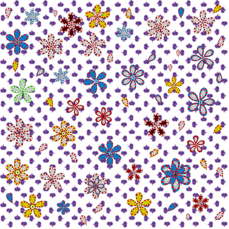 White, violet and red on colors. Seamless Abstract Retro Background Design. Pattern. Vector. Tender fabric pattern. Ilustração