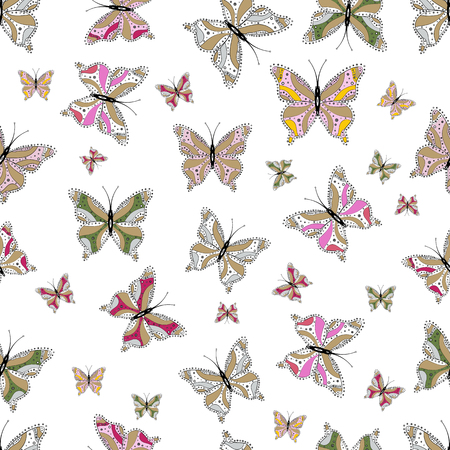 Butterflies pattern. Illustration on gray, neutral and white background. Seamless. Pattern for fabric, textile, print and invitation. Vector.
