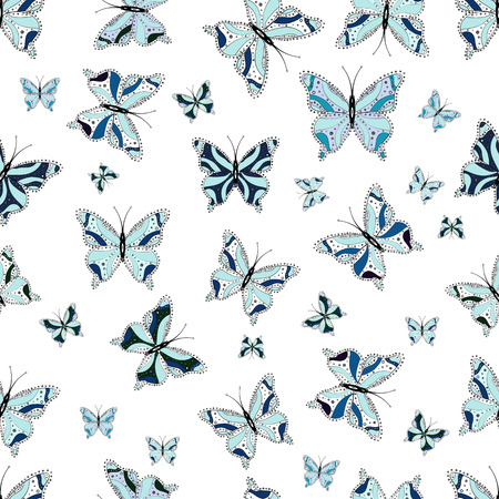 Fashion cute fabric design. Illustration in blue, neutral and white colors. Vector illustration. Beautiful fashion pattern with butterflies. Fantasy illustration.