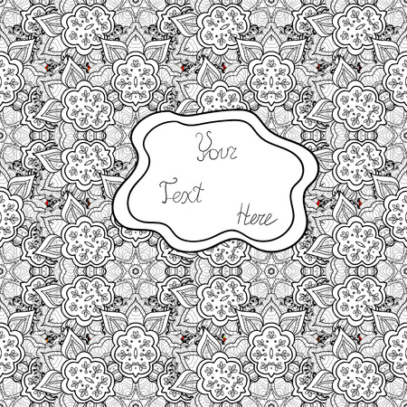 Watercolor, hand drawn. Vector - stock. Seamless background pattern. Doodles on gray, white and black colors.