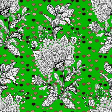 Seamless floral pattern in folk style with flowers, leaves. Vector illustration. Hand drawn.