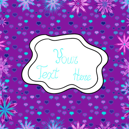 Seamless Beautiful fabric pattern. Doodles purple, white and blue on colors. Vector.