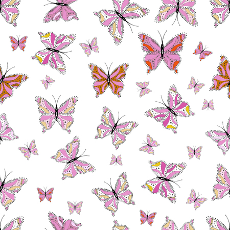 In vintage style. Pictures on black, white and pink in water color filter effect. Vector illustration. High Quality of nature butterfly.