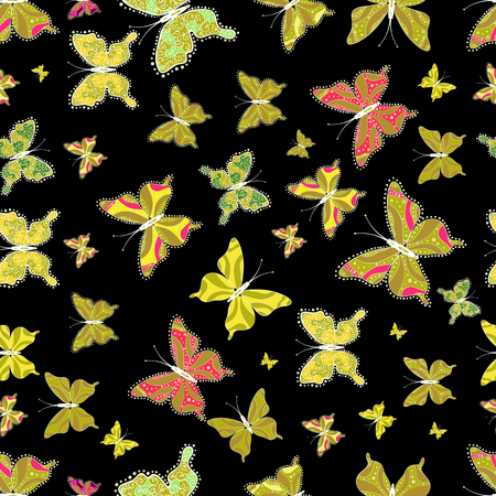 Abstract seamless pattern for girls, boys, clothes, wallpaper. Vector illustration. Collection of colorful butterflies, flying in different directions. 일러스트