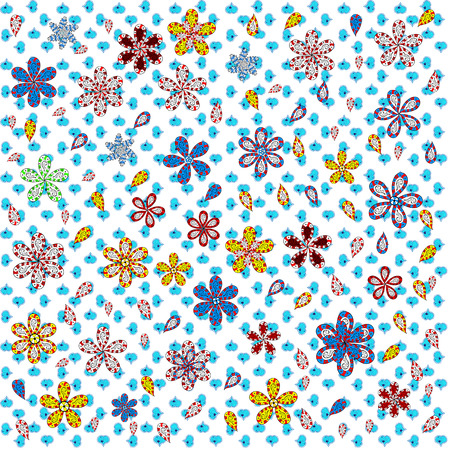 Seamless Beautiful fabric pattern. Nice background. Doodles cute pattern. Vector - stock. White, blue and red on colors. Stock Illustratie
