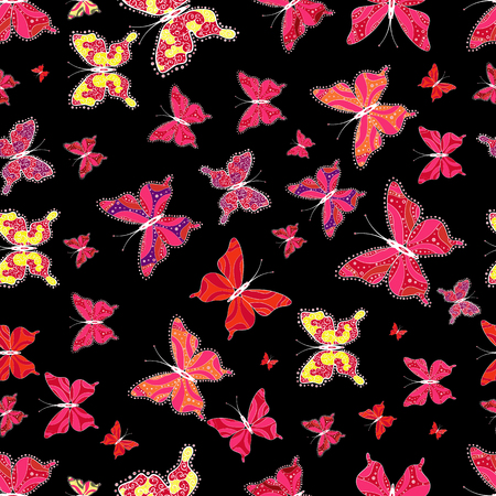 Vector illustration. Endless. Repeated butterflies. Cute girly seamless pattern drawn by hand. Sketch, doodle, scribble. 矢量图像