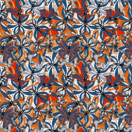 Doodles blue, black and white on colors. Seamless Beautiful fabric pattern. Vector. Ilustração