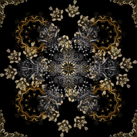Damask background. Golden element on a black and gray colors. Golden floral seamless pattern. Gold floral ornament in baroque style.