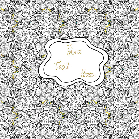 Doodles black, gray and white on colors. Seamless Elegant vector texture with floral elements.