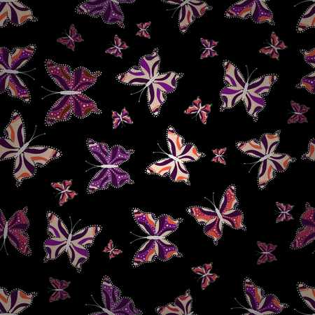 Vector illustration. Picture on beige, black and purple colors. Fashion Fabric Design. Bright seamless pattern with butterflies. Illustration