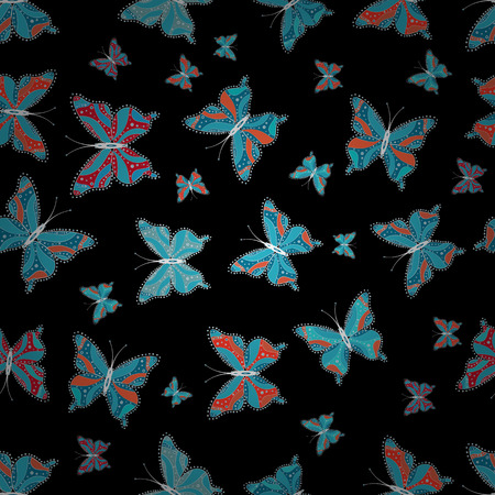 Beautiful color butterflies on a blue, gray and black colors. Seamless pattern. Vector illustration. Background for fabric, textile, print and invitation. 向量圖像