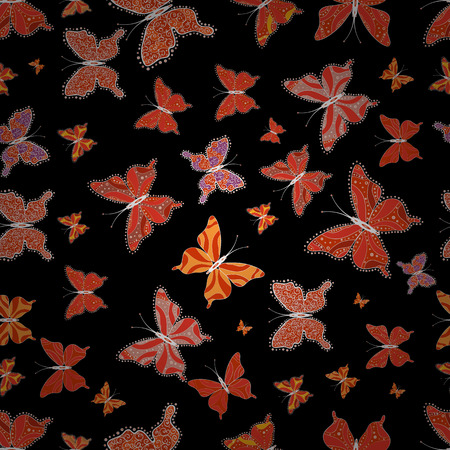 In simple style. Vector illustration. Background. Abstract cute butterfly on red, orange and black colors.