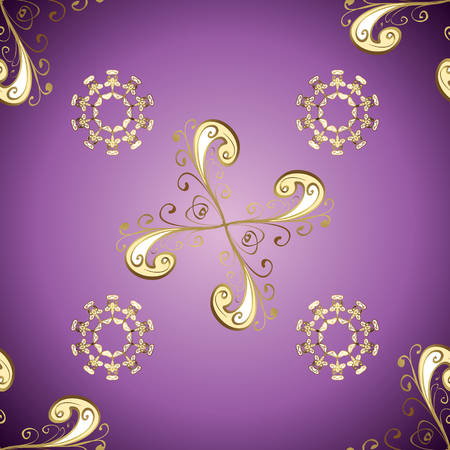 Classic vector golden seamless pattern. Floral ornament brocade textile pattern, glass, metal with floral pattern on purple and neutral colors with golden elements.
