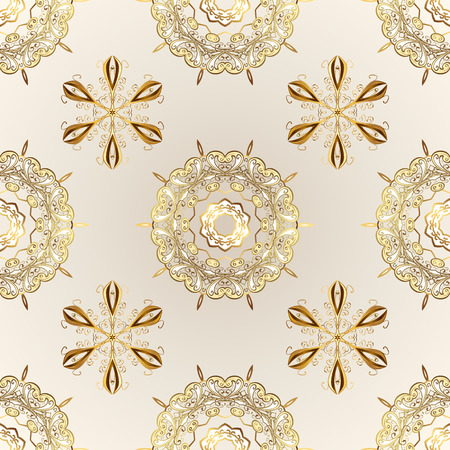 Vector golden floral ornament brocade textile and glass pattern. Beige and neutral colors with golden elements. Gold metal with floral pattern. Seamless golden pattern.
