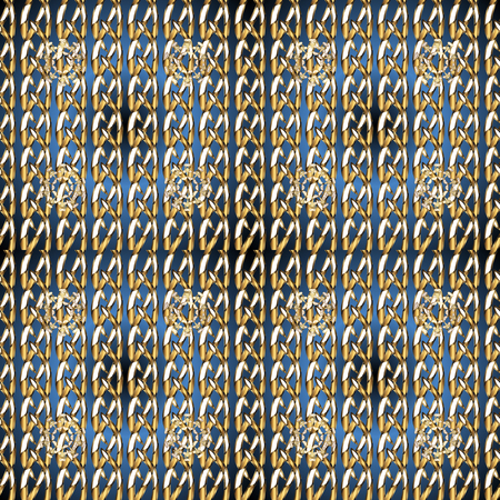 Damask seamless pattern for design. Vector seamless pattern on blue and brown colors with golden elements.