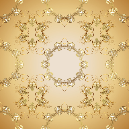 Golden element on beige and neutral colors. Damask seamless pattern repeating background. Antique golden repeatable wallpaper. Golden floral ornament in baroque style.
