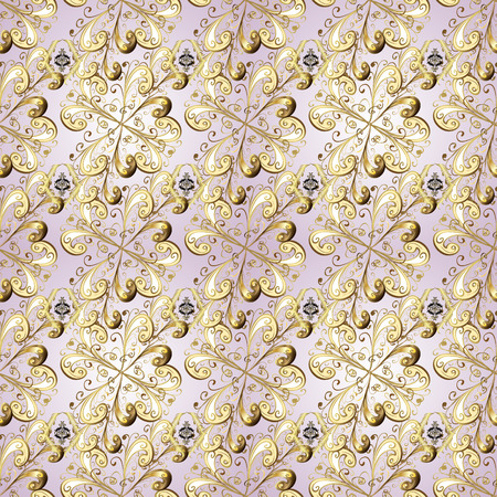 Vector golden floral ornament brocade textile and glass pattern. Neutral and beige colors with golden elements. Gold metal with floral pattern. Seamless golden pattern.