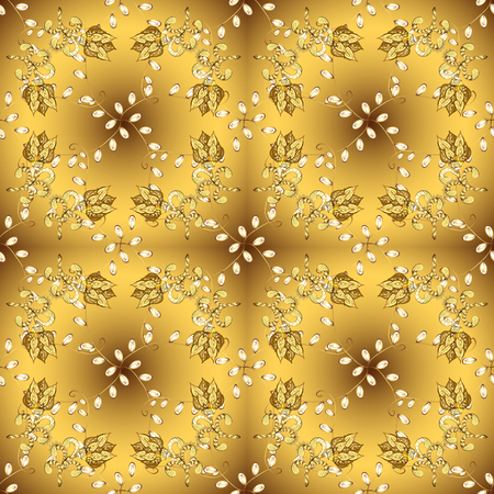 Golden element on brown and yellow colors. Golden outline floral decor. Eastern style element. Line art seamless border for design template. Vector illustration for invitations, cards, web page. Illustration
