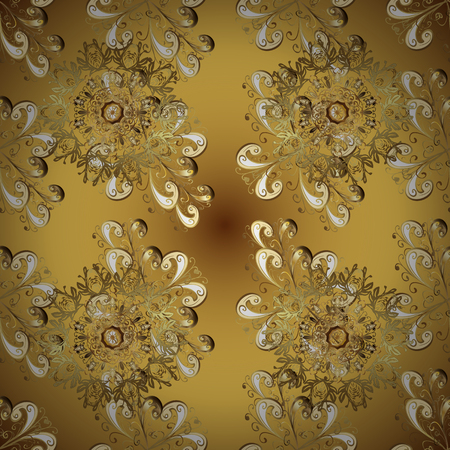 Seamless golden pattern. Gold metal with floral pattern. Vector golden floral ornament brocade textile and glass pattern. Brown and yellow colors with golden elements.