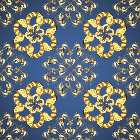 Seamless oriental ornament in the style of baroque. Golden elements on blue and yellow colors. Traditional classic vector golden seamless pattern.