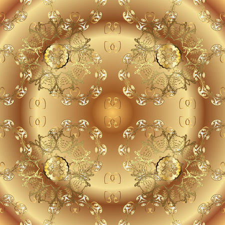 Seamless golden pattern. Seamless pattern on beige and brown colors with golden elements. Vector oriental ornament.