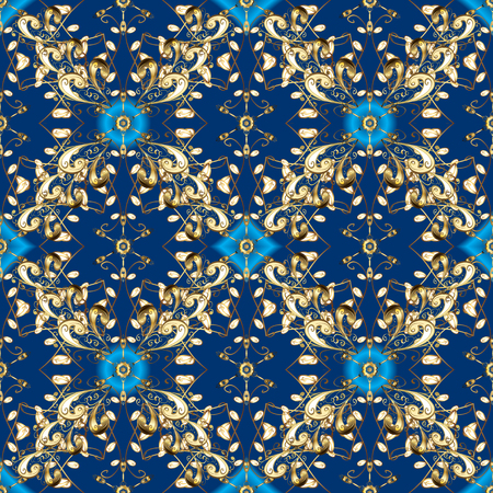 Gold floral ornament in baroque style. Damask seamless repeating pattern. Golden element on blue and brown colors. Antique golden repeatable wallpaper.